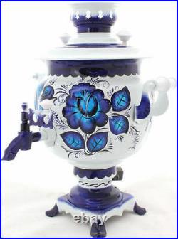 Russian Electric Samovar Tray Teapot Set Gzhel Handmade Painting Tea Kettle