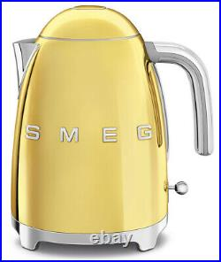 SMEG 50's Retro Style Aesthetic 1.7 L / 7 Cup 1500W Electric Kettle Gold NEW