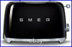 SMEG Retro Black Kettle & 2 Slice Toaster KLF03BLUK & TSF01BLUK Brand New