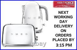 SMEG Retro Chrome Kettle & 2 Slice Toaster KLF03SSUK & TSF01SSUK Brand New
