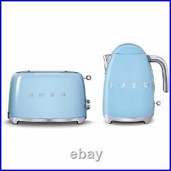 SMEG Retro Pastel Blue Kettle & 2 Slice Toaster KLF03PBUK & TSF01PBUK New