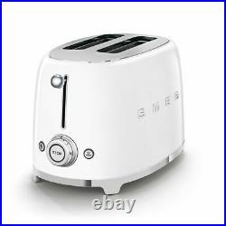 SMEG Retro White Kettle & 2 Slice Toaster KLF03WHUK & TSF01WHUK +2 Yr Warranty