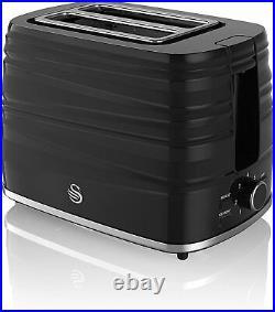 SWAN 2 Slice Toaster Kettle & VYTRONIX Microwave Matching Black Kitchen Set UK