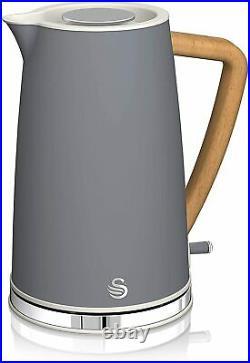 SWAN Nordic Microwave Toaster Kettle Storage Kitchen Set Grey/ Wood Effect