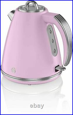 SWAN Retro Kettle Toaster Microwave Bread Bin & Canisters Retro kitchen Set Pink