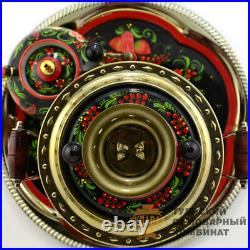 Set Khokhloma Russian Electric Samovar 3 L Kettle Tray Brass Painting Original
