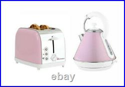 Set of Electric Kettle, Toaster Stainless Steel -Apple blossom-Pink