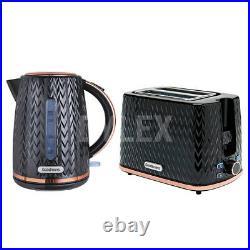 Sleek Modern Black & Copper 1.8L Electric Kettle & 2 Slice Toaster Breakfast Set