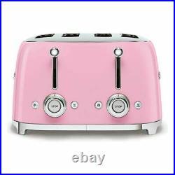 Smeg KLF04PKUK Pink Variable Temp Kettle & Smeg TSF03PKUK Pink 4 Slice Toaster