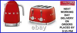 Smeg KLF04RDUK Red Variable Temp Kettle & Smeg TSF03RDUK Red 4 Slice Toaster