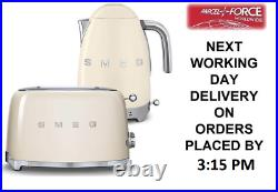Smeg TSF01CRUK Cream 2 Slice Toaster & Smeg KLF04CRUK Variable Temp Kettle