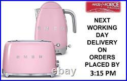 Smeg TSF01PKUK Pink 2 Slice Toaster + Smeg KLF04PKUK Pink Variable Temp Kettle