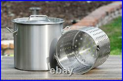 Stock Pot Brewing Beer Boiling Kettle Crawfish Strainer Basket Lid 32 Quart