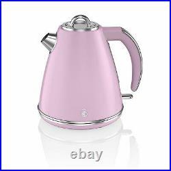 Swan 3000W 1.5Litre Retro Pink Electric Cordless 360 Jug Kettle Fast Quiet Boil