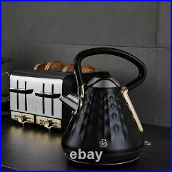 Swan Gatsby Kettle and 4 Slice Toaster Set Black & Gold