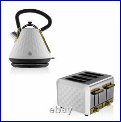 Swan Premium White Cordless 1.7Lt Kettle & 4 Toaster Set RRP £130