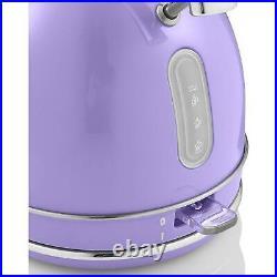 Swan Retro 1.8L Dome Cordless Kettle 3000kw & 4 Slice Retro Toaster Set Purple
