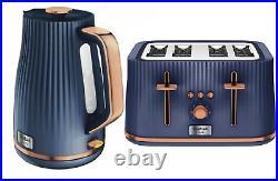 TEFAL Loft Kettle & 4 Slice Toaster Breakfast Set Matching Navy Blue/Rose Gold