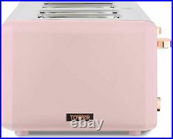 Tower Cavaletto Pink & Rose Gold Pyramid Kettle & 4 Slice Toaster Set