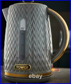 Tower Empire Kettle & 4 Slice Toaster Matching Set in Grey with Brass Accents