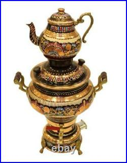 Turkish Handmade Copper Teapot Set Electric Samovar Double Kettle Tea Semaver