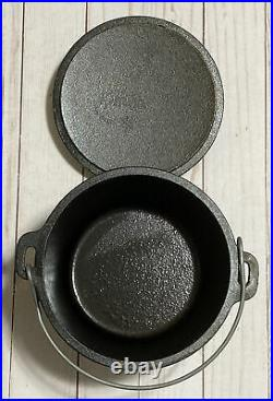 UNUSED LODGE # 6CO Cast Iron Camp Dutch Oven 1 Qt 3 Leg Kettle & # 6 Lid SCARCE