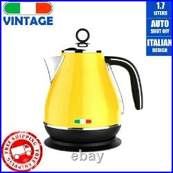 Vintage Electric Kettle Toaster Induction Grill Hotpot BBQ Deep Fry Combo Yellow