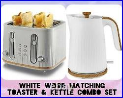 White Wood scandi 4 Slices Bread Toaster Matching Kettle Set Kitchen Luxury Gift